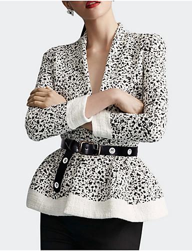 voordelige Damesblazers & jasjes-Dames Dagelijks Normaal Jack, Luipaard V-hals Lange mouw Polyester Beige