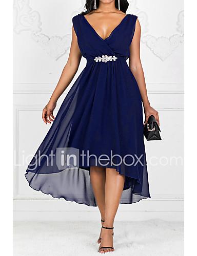 voordelige Maxi-jurken-Dames Feest A-lijn Jurk - Effen V-hals Maxi