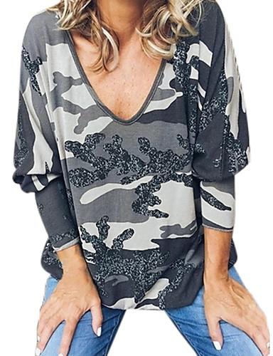 billige Dametopper-T-skjorte Dame - Kamuflasje, Trykt mønster Gatemote Hvit