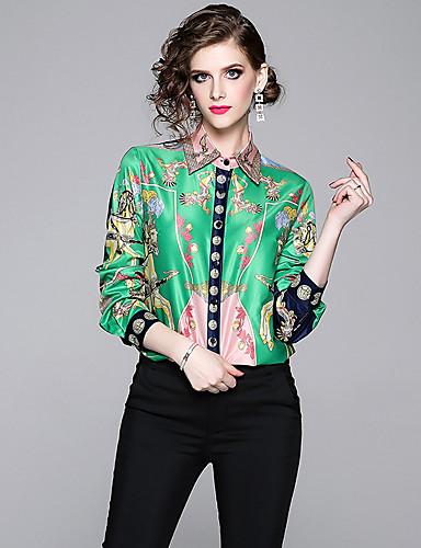 billige Skjorter til damer-Skjorte Dame - Ruter, Trykt mønster Vintage / Elegant Grønn