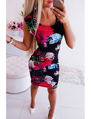 cheap Print Dresses-Women's Bodycon Short Mini Dress - Sleeveless Floral Print U Neck Basic Rainbow S M L XL