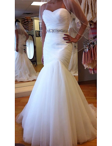 cheap Wedding Dresses-Mermaid / Trumpet Sweetheart Neckline Court Train Tulle Strapless Formal Sparkle & Shine Wedding Dresses with Ruched / Crystals 2020