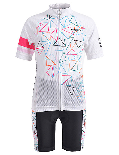 cheap Cycling-Nuckily Boys' Girls' Short Sleeve Cycling Jersey with Shorts - Kid's White Bike Clothing Suit Anatomic Design Quick Dry Moisture Wicking Sports Summer Chinlon Spandex Mountain Bike MTB Clothing