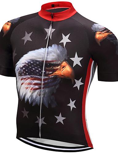 povoljno Odjeća za vožnju biciklom-21Grams American / USA Orao Državne zastave Muškarci Kratkih rukava Biciklistička majica - Red+Blue Bicikl Majice Prozračnost Ovlaživanje Quick dry Sportski Terilen Brdski biciklizam biciklom na cesti