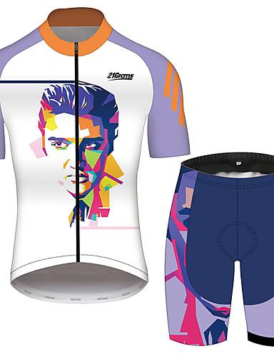 povoljno Odjeća za vožnju biciklom-21Grams Elvis Presley Muškarci Kratkih rukava Biciklistička majica s kratkim hlačama - Crno bijela  / Bicikl Sportska odijela Prozračnost Quick dry Reflektirajuće trake Sportski 100% poliester Brdski