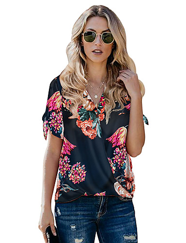 billige Skjorter til damer-Skjorte Dame - Blomstret, Trykt mønster Grunnleggende Oransje