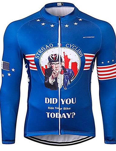 povoljno Odjeća za vožnju biciklom-21Grams American / USA Ujak Sam Državne zastave Muškarci Dugih rukava Biciklistička majica - Plava Bicikl Biciklistička majica Majice UV otporan Prozračnost Ovlaživanje Sportski 100% poliester Brdski