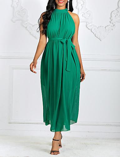 levne Maxi šaty-Dámské Elegantní A Line Šaty - Jednobarevné, Plisé Šňůrky Maxi