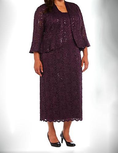 voordelige Wrap Dresses-Tweedelig Met sieraad Over de knie Kant Bruidsmoederjurken met Strik(ken) / Kristaldetails / Ruches door LAN TING Express / Wrap inbegrepen