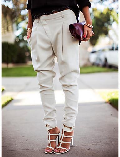 preiswerte Damen Unterbekleidung-Damen Street Schick Jogger Hose - Solide Schwarz Weiß Blau S M L / Übergrössen