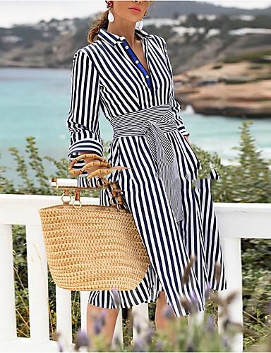 Damen Hülle Kleid Gestreift Knielang 7579725 2019 - $29.69