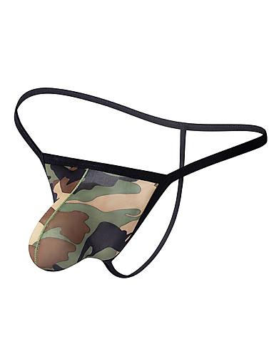 Homens Estampado G-string Underwear - Normal 1 Peça Cintura Baixa Verde Tropa M L XL