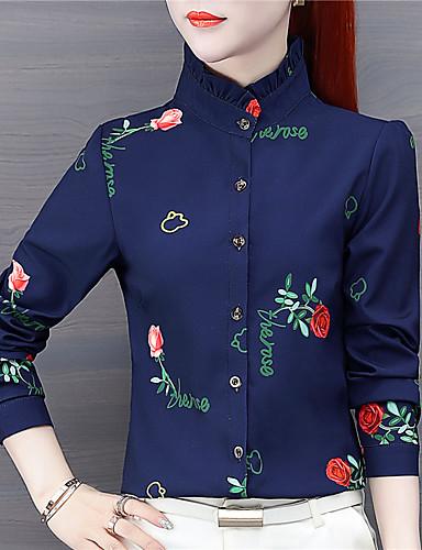 billige Dametopper-Skjorte Dame - Blomstret Chinoiserie Hvit