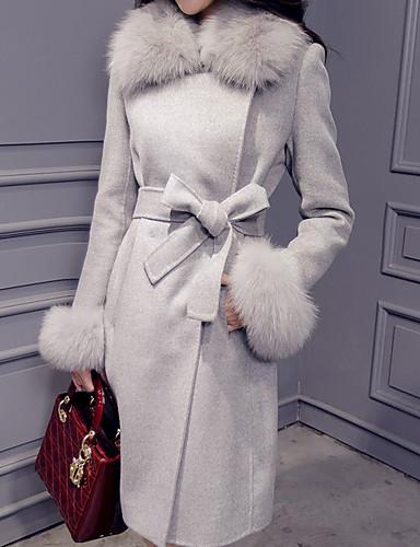 preiswerte Damenbekleidung Ausverkauf-Damen Alltag Herbst Winter Standard Mantel, Solide Umlegekragen Langarm Polyester Rosa / Grau / Gelb