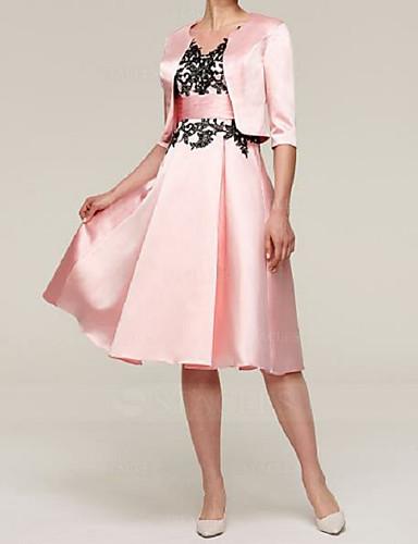 voordelige Wrap Dresses-A-lijn / Tweedelig Met sieraad Tot de knie Satijn Bruidsmoederjurken met Appliqués door LAN TING Express / Wrap inbegrepen