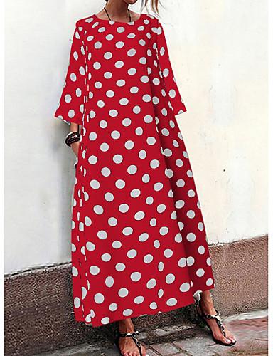 Mulheres Básico Reto Vestido - Estampado, Poá Longo