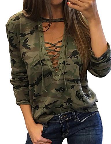 billige Dametopper-T-skjorte Dame - Kamuflasje, Trykt mønster Grunnleggende Grønn