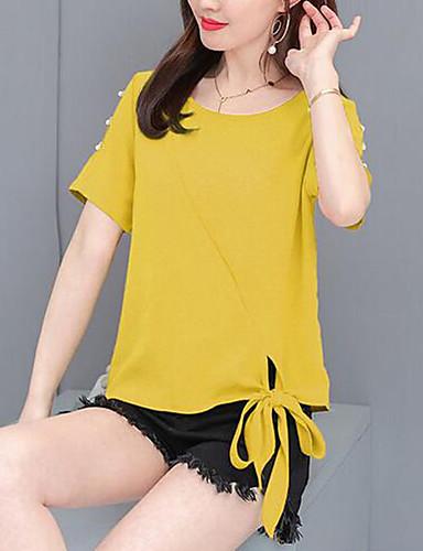 billige T-skjorter til damer-T-skjorte Dame - Ensfarget, Perler / Utskjæring / Blondér Grunnleggende Rosa