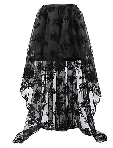 preiswerte Röcke & Hosen-Damen Übergrössen Retro A-Linie Röcke - Solide Spitze Schwarz Weiß Rote S M L / Asymmetrisch