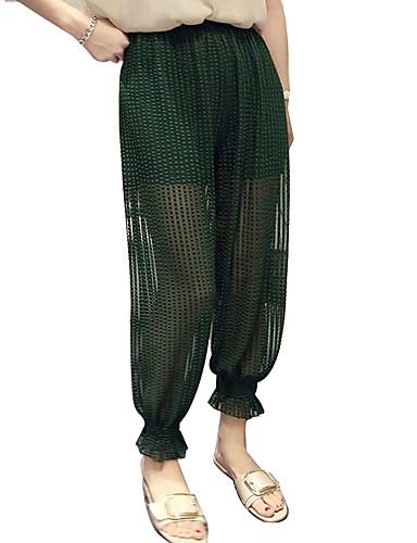 Χαμηλού Κόστους Γυναικεία Παντελόνια-Γυναικεία Βασικό / Κομψό στυλ street Φαρδιά Chinos / βράκες Παντελόνι - Μονόχρωμο Πράσινο του τριφυλλιού Λευκό Μαύρο Ένα Μέγεθος