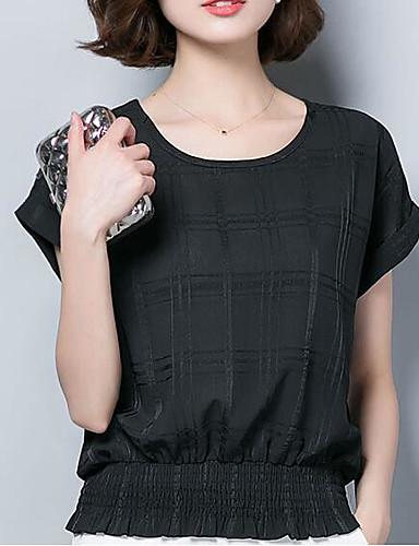 billige Dametopper-T-skjorte Dame - Ensfarget, Flettet Forretning / Grunnleggende Svart