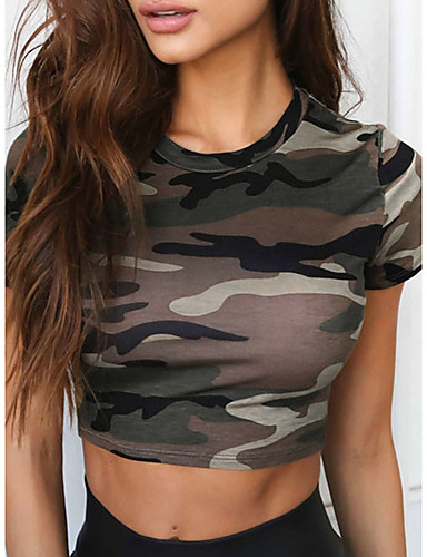 billige Dametopper-T-skjorte Dame - Kamuflasje Militær Militærgrønn