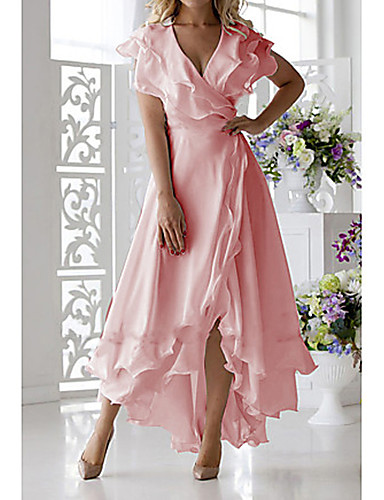 levne Maxi šaty-Dámské Větší velikosti Sexy A Line Šaty - Jednobarevné, Volány Wrap Midi Do V