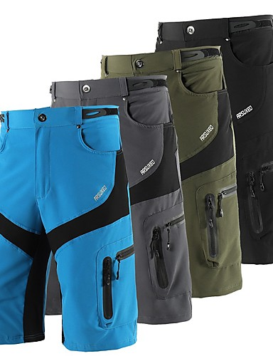 cheap Sports Essentials-Arsuxeo Men's Cycling MTB Shorts Bike Shorts Baggy Shorts MTB Shorts Waterproof Breathable Moisture Wicking Sports Solid Color Polyester Spandex Black / Grey / Army Green Mountain Bike MTB Road Bike