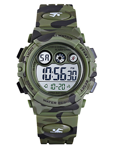 cheap Kids' Watches-Boys' Digital Watch Digital Silicone Blue / Green / Navy 50 m Water Resistant / Waterproof Alarm Clock Stopwatch Digital New Arrival Fashion - Blue Green Dark Blue / Noctilucent