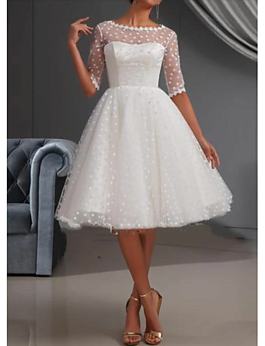 cheap Wedding Dresses-A-Line Wedding Dresses Jewel Neck Knee Length Lace Tulle Short Sleeve Casual Vintage See-Through Cute Illusion Sleeve with Draping Lace Insert 2020
