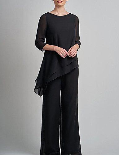 cheap Mother of the Bride Dresses-Pantsuit / Jumpsuit Mother of the Bride Dress Elegant Plus Size Jewel Neck Floor Length Chiffon 3/4 Length Sleeve with Lace 2020 Mother of the groom dresses