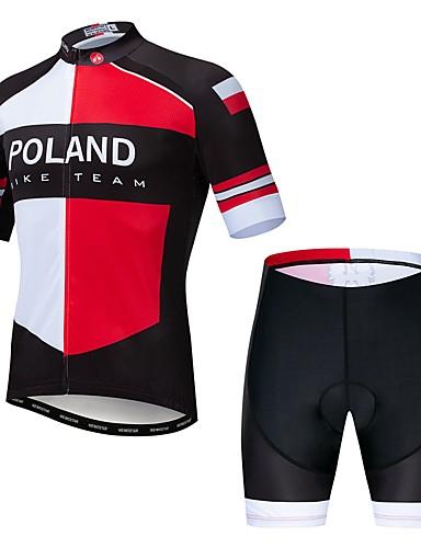 povoljno Odjeća za vožnju biciklom-WEIMOSTAR Poljska Državne zastave Muškarci Kratkih rukava Biciklistička majica s kratkim hlačama - Red / White Bicikl Sportska odijela Prozračnost Quick dry Sportski Elastan Terilen Brdski biciklizam