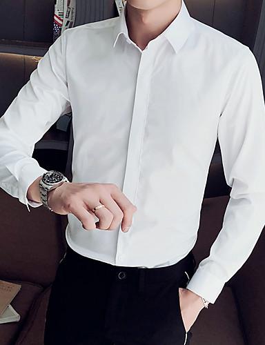 Homens Camisa Social Básico Sólido Preto
