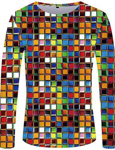 levne Pánská tílka-Pánské - Puntíky / Geometrický / 3D Šik ven / Přehnaný Větší velikosti Tunika, Plisé / Tisk Kulatý Černá a Bílá Duhová / Dlouhý rukáv