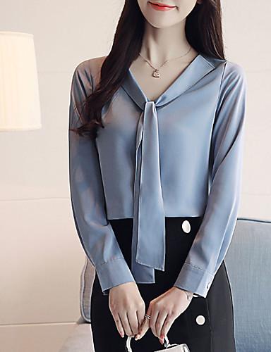 billige Skjorter til damer-Skjorte Dame - Ensfarget Blå