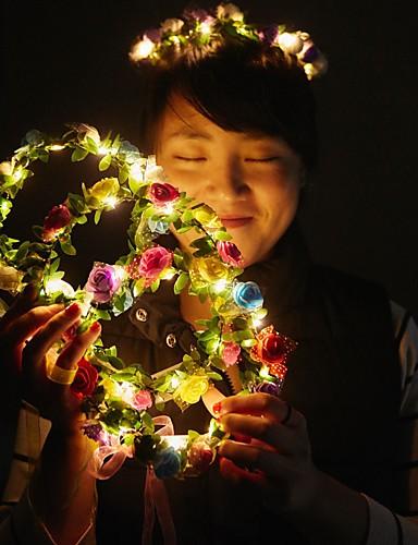 preiswerte Dekorationen-1 stück dekoration licht schöne helle girlande für weihnachtsfeier bunte halloween kranz blume stirnband für frauen mädchen led haarkrone haar girlanden