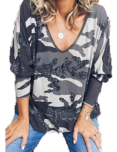 billige Dametopper-T-skjorte Dame - Kamuflasje, Lapper / Trykt mønster Grunnleggende Lilla