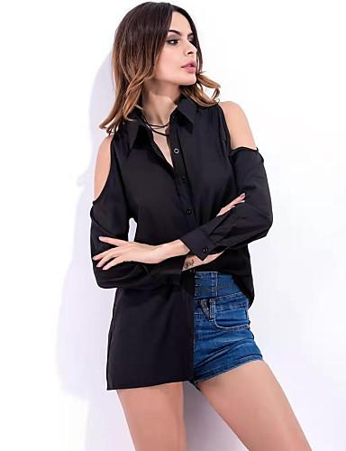 billige Skjorter til damer-Skjorte Dame - Ensfarget, Utskjæring Grunnleggende Svart