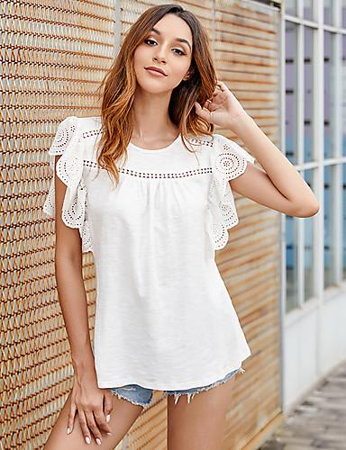 billige Dametopper-T-skjorte Dame - Ensfarget, Utskjæring Grunnleggende Hvit Hvit