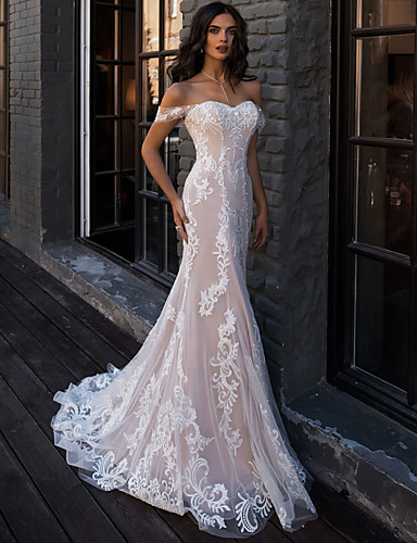 cheap Boho Wedding Dresses-Mermaid / Trumpet Sweetheart Neckline Court Train Lace Regular Straps Boho Illusion Detail Wedding Dresses with Lace 2020