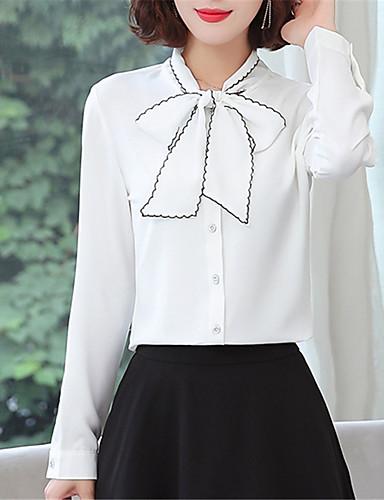 billige Dametopper-Skjorte Dame - Ensfarget, Sløyfe Chinoiserie Lyseblå