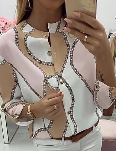 billige Bluse-Dame - Geometrisk Bluse Lyserød