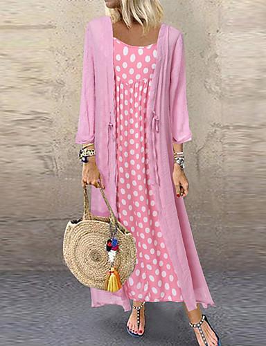 cheap Print Dresses-Women's Two Piece Dress Maxi long Dress - Long Sleeve Polka Dot Print Spring & Summer Casual Vacation Loose 2020 Black Blushing Pink Orange M L XL XXL XXXL XXXXL XXXXXL