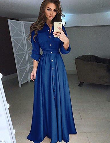 levne Maxi šaty-Dámské Elegantní Swing Šaty - Jednobarevné, Tlačítko Maxi Košilový límec Dusty Rose
