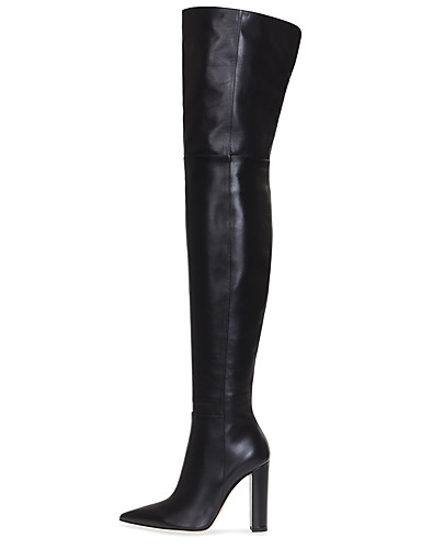 preiswerte Damen Stiefel-Damen Stiefel Over-the-Knie Stiefel Blockabsatz Spitze Zehe Kunstleder Übers Knie Britisch / Minimalismus Winter Schwarz / Hautfarben / Party & Festivität