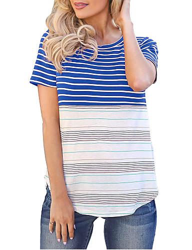billige Dametopper-T-skjorte Dame - Stripet, Trykt mønster Grunnleggende BLå & Hvit Svart