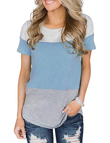 billige Dametopper-T-skjorte Dame - Geometrisk, Blonde Grunnleggende BLå & Hvit / Svart og hvit Blå