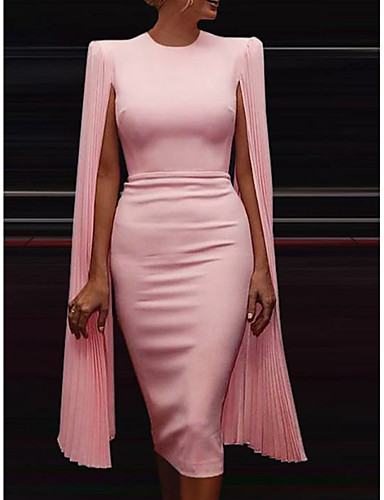cheap Special Occasion Dresses-Sheath / Column Chic & Modern Holiday Cocktail Party Dress Jewel Neck Sleeveless Knee Length Chiffon with Draping 2020