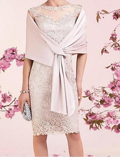 voordelige Wrap Dresses-Strak / kolom Met sieraad Tot de knie Kant / Satijn Bruidsmoederjurken met Ruches door LAN TING Express / Wrap inbegrepen