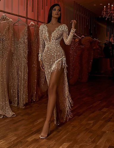 preiswerte Speziell an Halloween-Damen Elegant Hülle Kleid - Quaste Gespleisst, Solide Asymmetrisch Tiefes V